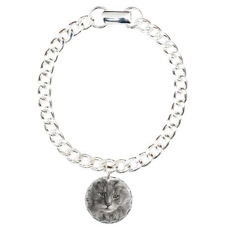 Long-Haired Gray Cat Charm Bracelet, One Charm