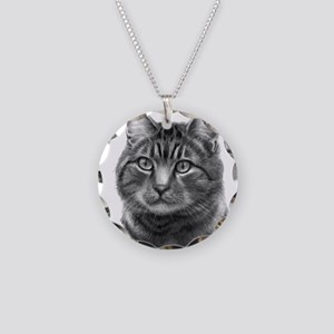 Tiger Cat Necklace Circle Charm
