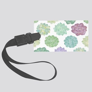 Watercolor Succulent Garden Large Luggage Tag