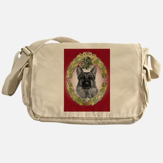 German Shepherd K9 Christmas Messenger Bag