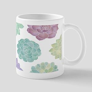 Watercolor Succulent Garden 11 oz Ceramic Mug