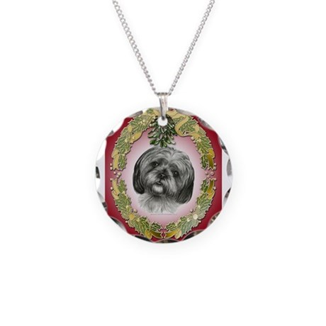 shih tzu necklace shih tzu christmas necklace circle charm by dogspictured 9729