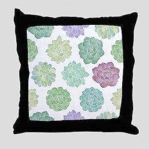 Watercolor Succulent Garden Throw Pillow