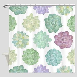 Watercolor Succulent Garden Shower Curtain