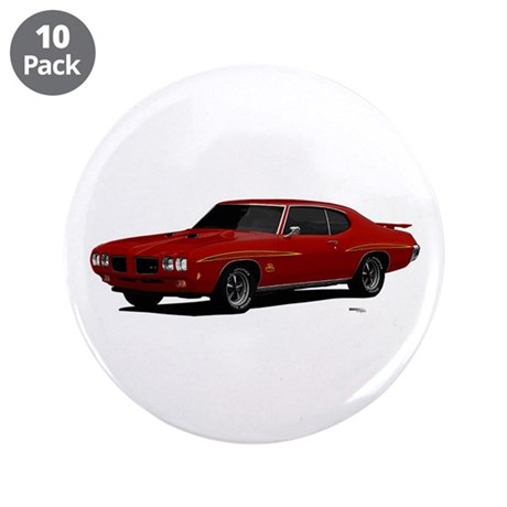 """1970 GTO Judge Cardinal Red 3.5"""" Button (10 pack)"""