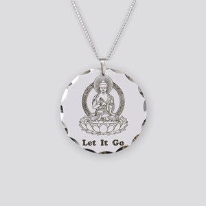 Vintage Buddha Let It Go Necklace Circle Charm