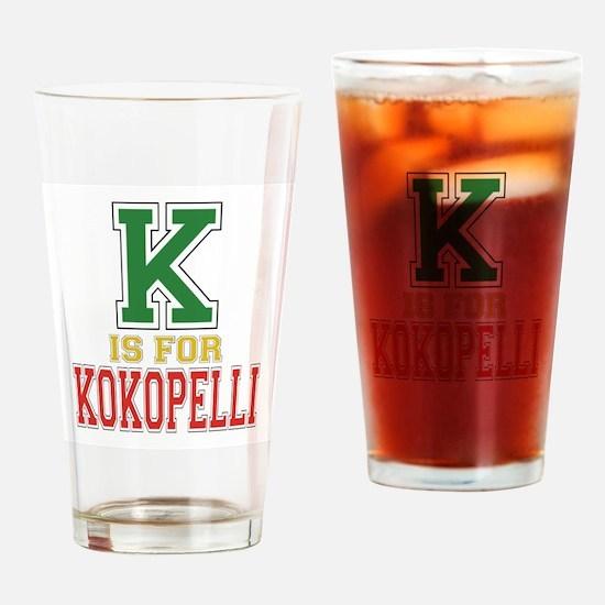 K is for Kokopelli Drinking Glass