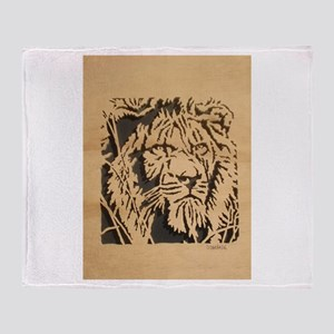 Wood Lion Throw Blanket