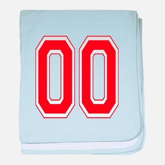 Varsity Font Number 00 Red baby blanket
