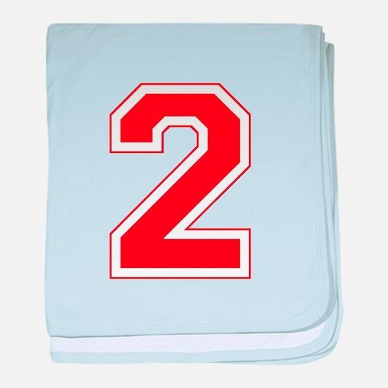 Varsity Font Number 2 Red baby blanket