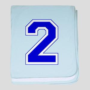 Varsity Font Number 2 Blue baby blanket