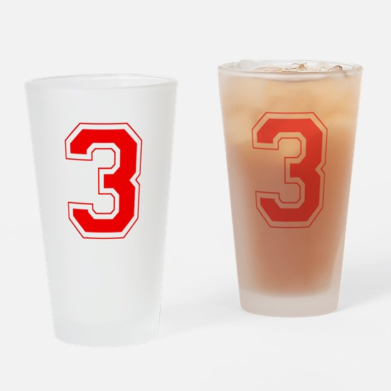 Varsity Font Number 3 Red Drinking Glass