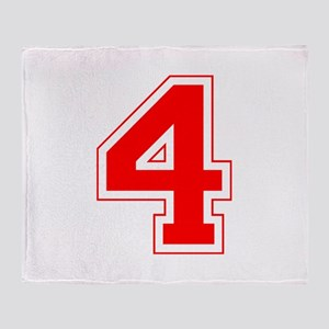 Varsity Font Number 4 Red Throw Blanket