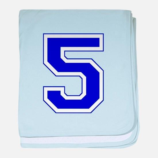Varsity Font Number 5 Blue baby blanket