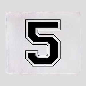 Varsity Font Number 5 Black Throw Blanket