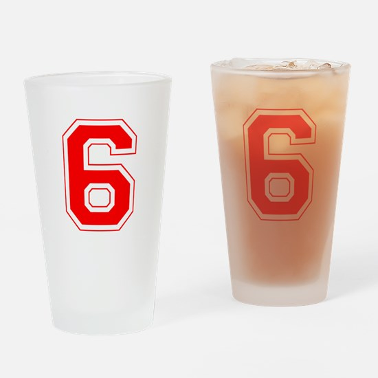 Varsity Font Number 6 Red Drinking Glass