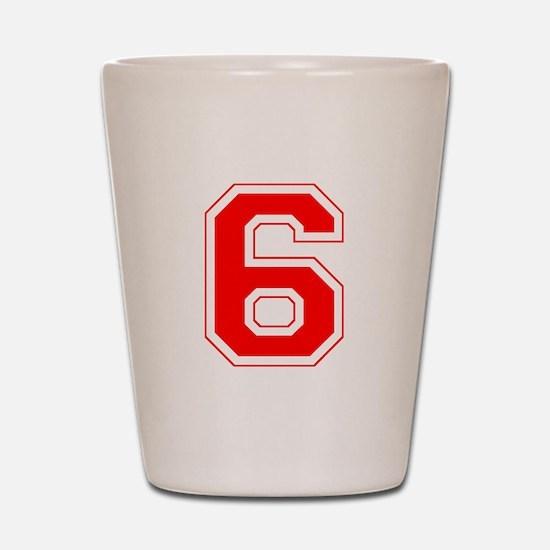 Varsity Font Number 6 Red Shot Glass