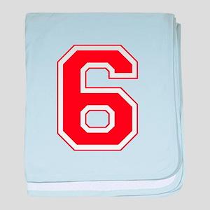 Varsity Font Number 6 Red baby blanket