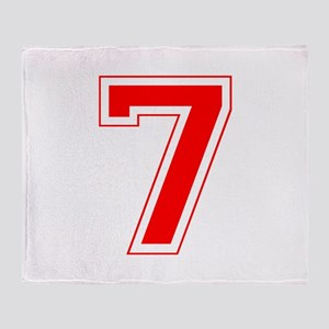 Varsity Font Number 7 Red Throw Blanket