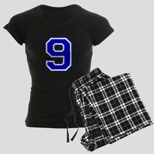 Varsity Font Number 9 Blue Women's Dark Pajamas