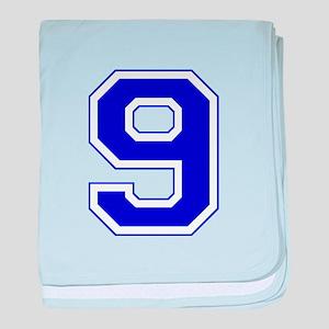 Varsity Font Number 9 Blue baby blanket