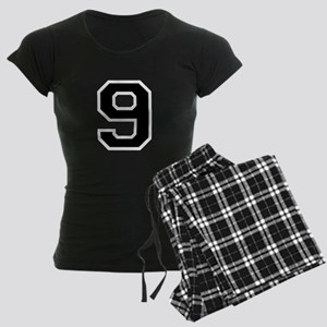 Varsity Font Number 9 Black Women's Dark Pajamas