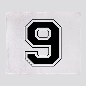Varsity Font Number 9 Black Throw Blanket