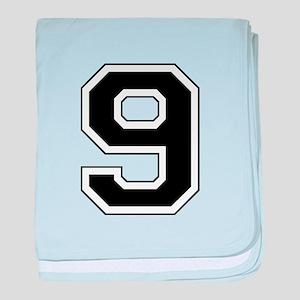 Varsity Font Number 9 Black baby blanket