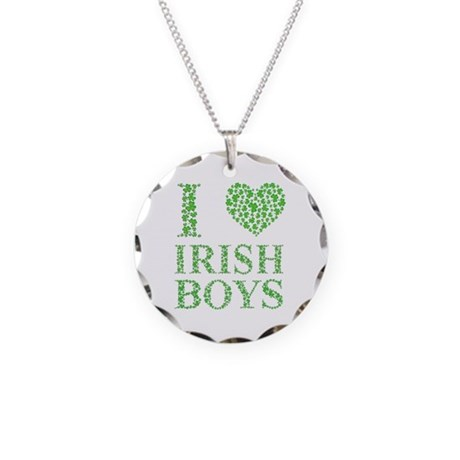 I Love Irish Boys Necklace Circle Charm