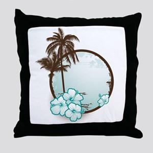 Tropical Circle with hibiscus Throw Pillow