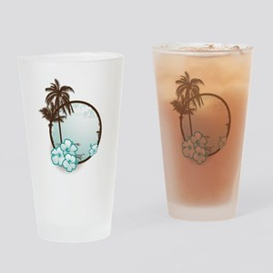 Tropical Circle with hibiscus Drinking Glass