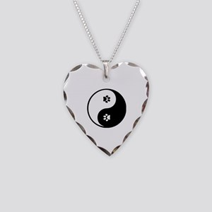 YinYang Paws Necklace Heart Charm