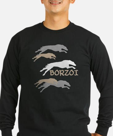 running borzoi with text sqwh2 Long Sleeve T-Shirt