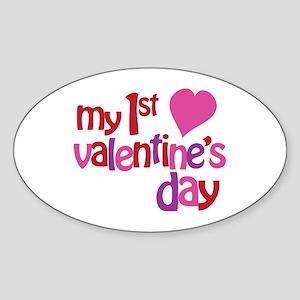 My 1st Valentine's Day Sticker (Oval)