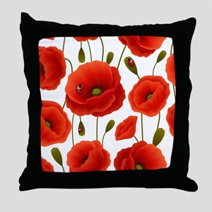 Red Poppies & Ladybugs Floral Throw Pillow