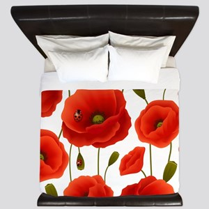 Red Poppies & Ladybugs Floral King Duvet