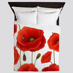 Red Poppies & Ladybugs Floral Queen Duvet