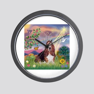 Cloud Angel & Basset Wall Clock