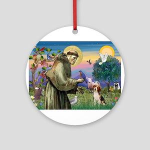 St Francis / Beagle Ornament (Round)