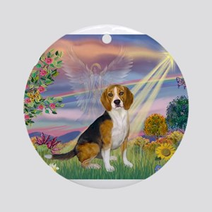 Fantasy Land & Beagle Ornament (Round)