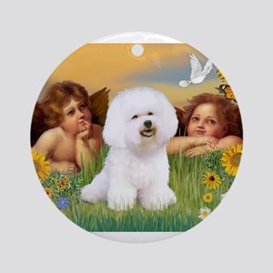 Angels & Bichon Frise Ornament (Round)