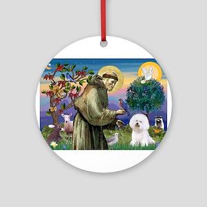 St Francis / Bichon Frise Ornament (Round)