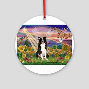 Autumn Angel / Border Collie Ornament (Round)