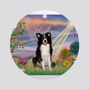 Cloud Angel /Border Collie Ornament (Round)