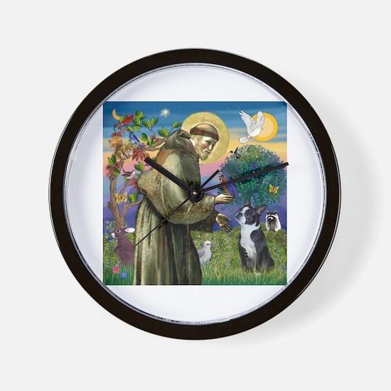 St Francis / Boston Terrier Wall Clock