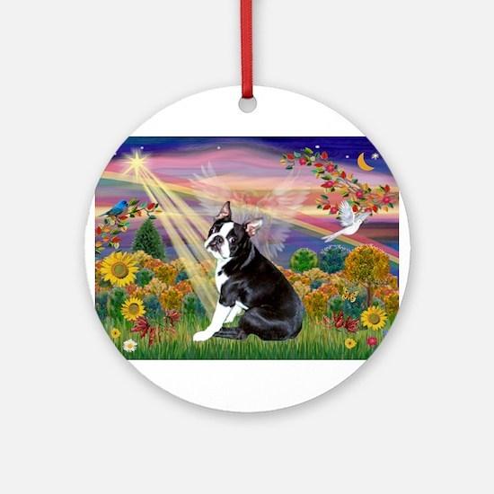 Autumn Angel & Boston Ornament (Round)