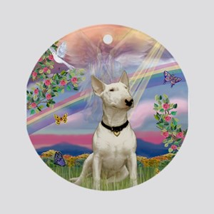 Cloud Angel /Bull Terrier Ornament (Round)