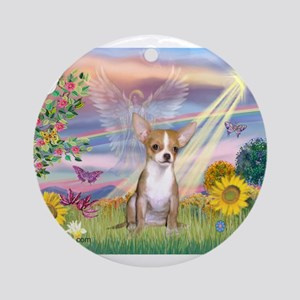 Cloud Angel / Chihuahua (f) Ornament (Round)