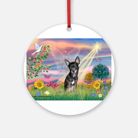 Cloud Angel / Chihuahua (bl) Ornament (Round)