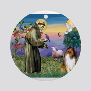 St Francis / Collie Ornament (Round)